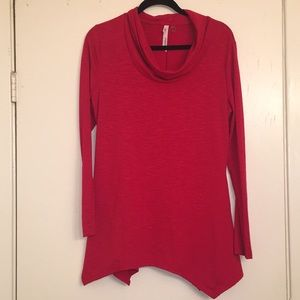 NY Collection Red Cowl Neck Top M